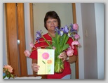 Sherri with Mother's Day Card and Flowers