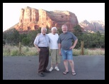 Orestus, Stella and Dennis in the parking lot near Sedona